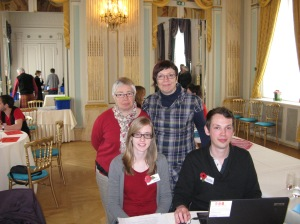 My sister and me (back) with our 'personal historians' Ellen and Quinten (front)