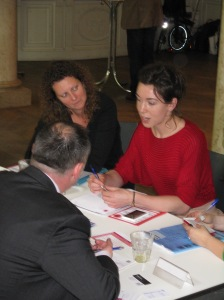 Andrew (UK) in discussion with Sofie and Ann (Antwerp Peace Centre)